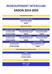 Calendrier des Entrainements commun de judo à Grasse